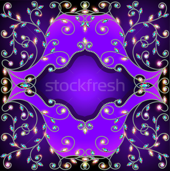 background frame with gold ornaments of precious stones Stock photo © yurkina