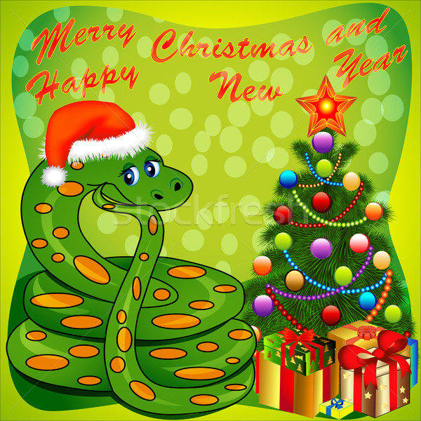 of a Christmas tree and a snake with gifts on green Stock photo © yurkina