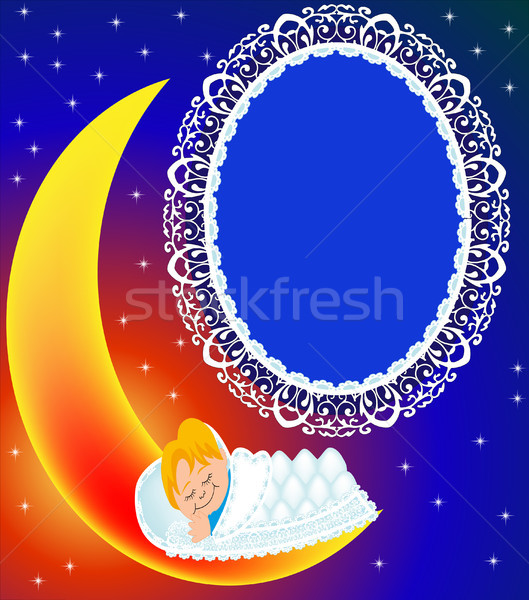 frame on moon child sweetly sleeps Stock photo © yurkina