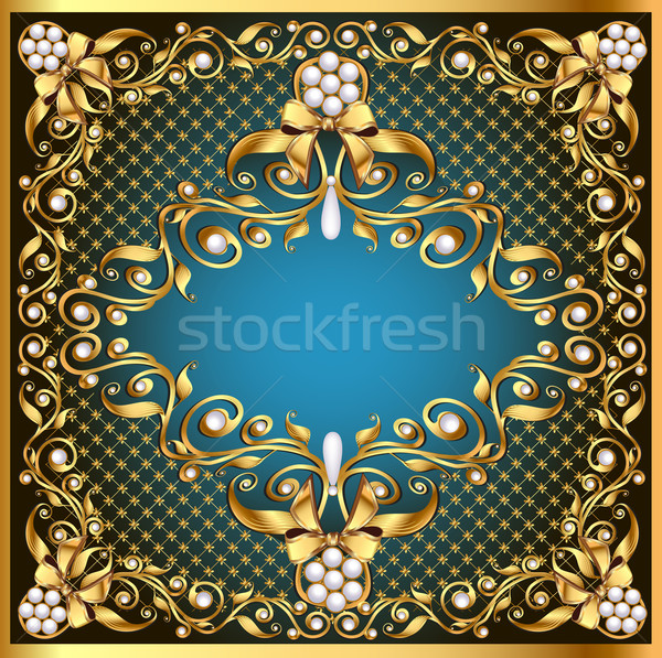 illustration frame background with gold pattern by net and bow Stock photo © yurkina