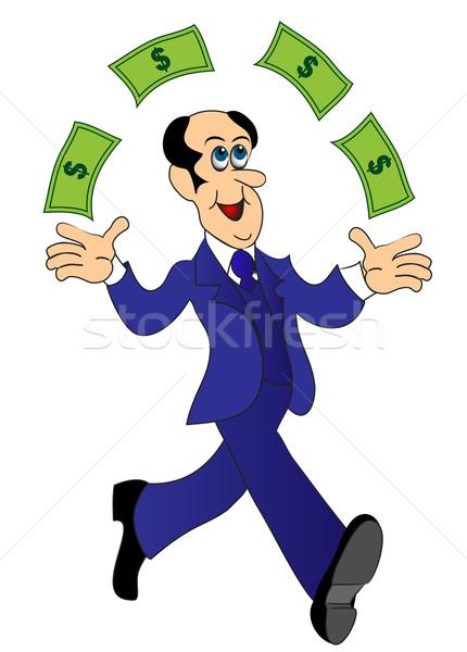 businessman runs and throws money Stock photo © yurkina