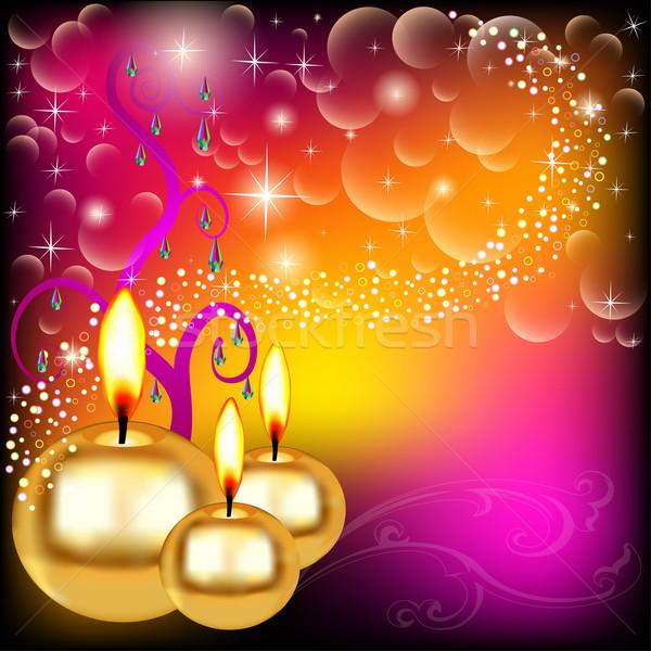 background candles star holiday precious stones Stock photo © yurkina