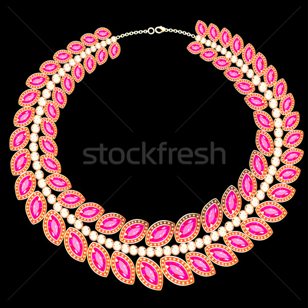 woman's necklace with pink jewels on black Stock photo © yurkina