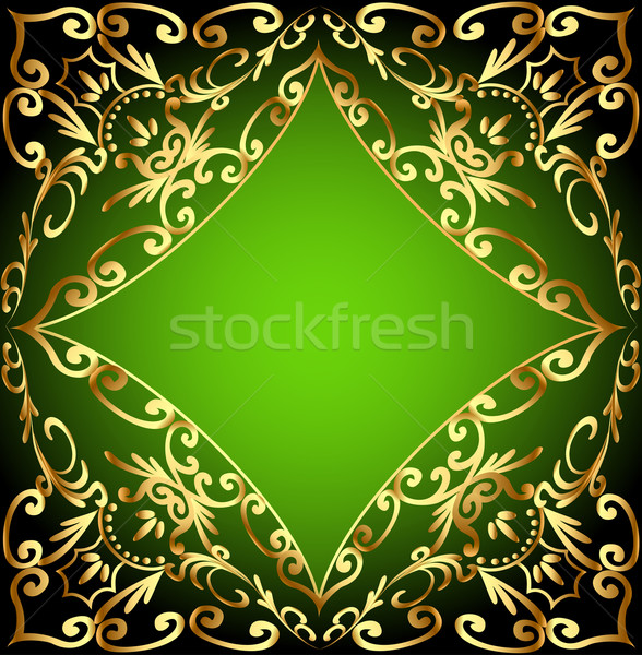 green background frame with gold ornamentation Stock photo © yurkina