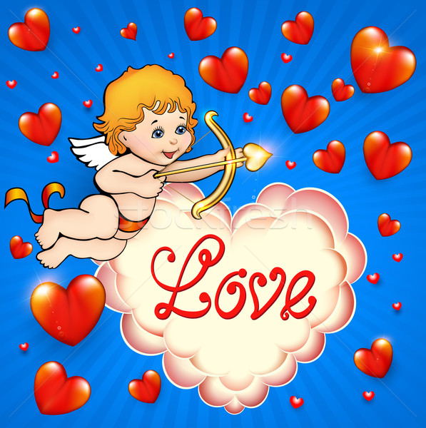 Valentine's Day card with cupid and hearts Stock photo © yurkina