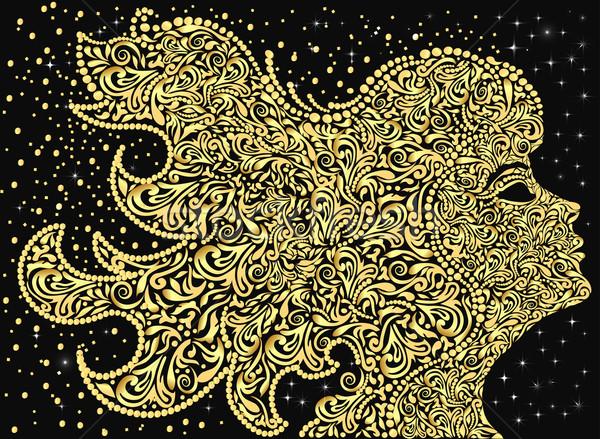 девочек лице цветочный орнамент развивающийся Сток-фото © yurkina