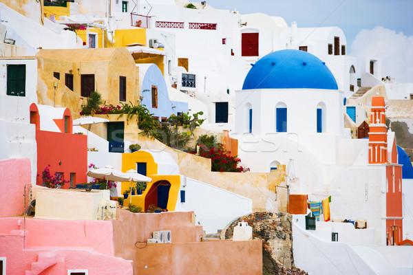 Santorini építészet részletek Görögország ház festék Stock fotó © yurok