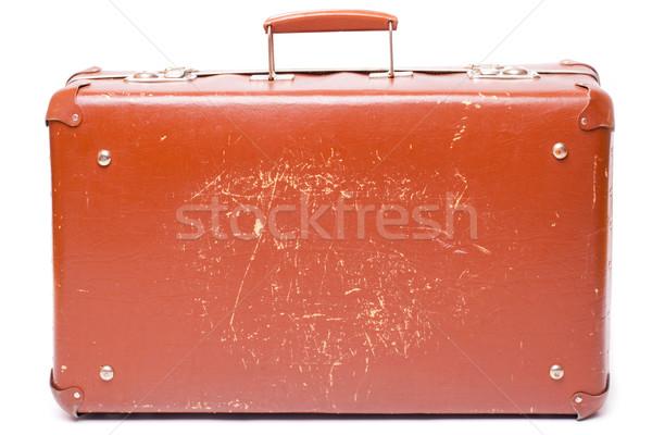 Eski bavul bağbozumu kahverengi yalıtılmış beyaz Stok fotoğraf © yurok