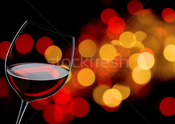 Verre vin rouge lumières fête restaurant Photo stock © yurok