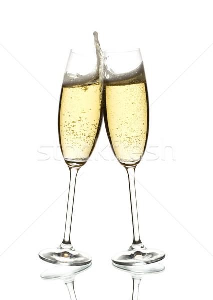 Zwei Gläser Wein Blasen weiß Stock foto © yurok