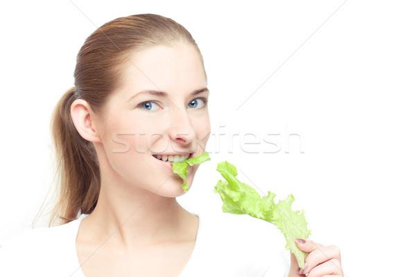 Gezond eten jonge vrolijk vrouw sla blad Stockfoto © yurok