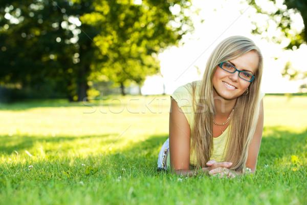 Genç kadın park portre genç gülümseyen kadın yaz Stok fotoğraf © yurok