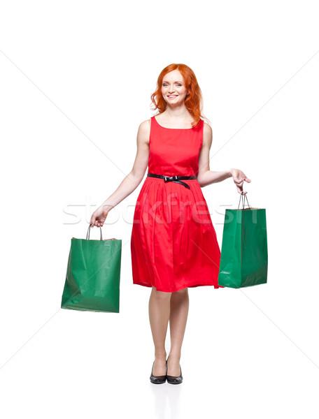 Groene rode jurk geïsoleerd Stockfoto © yurok