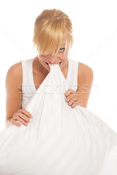 Jó portré fiatal szőke nő ágy fehér Stock fotó © yurok