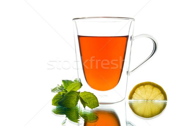 Csésze teáscsésze tea menta citrom űr Stock fotó © yurok