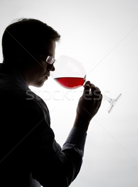 Kóstolás bor fiatal szakértő mintavétel vörösbor Stock fotó © yurok