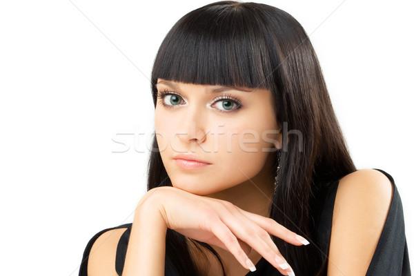 Charmant brunette portret jonge witte meisje Stockfoto © yurok