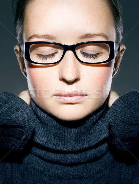 close up portrait of brunnete, eye closed Stock photo © yurok