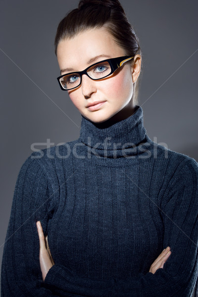 Fiatal profi portré kaukázusi barna hajú stúdiófelvétel Stock fotó © yurok