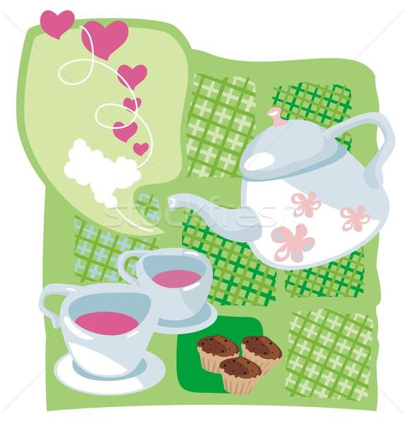 Kettle and muffins Stock photo © yurumi