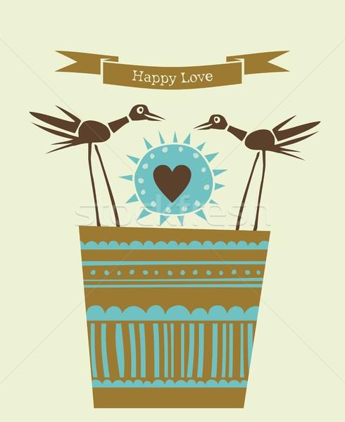 Happy love, happy birds Stock photo © yurumi