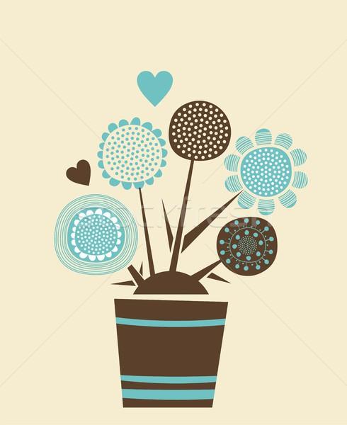 Сток-фото: декоративный · цветочный · горшок · карт · иллюстрация · цветы · банка