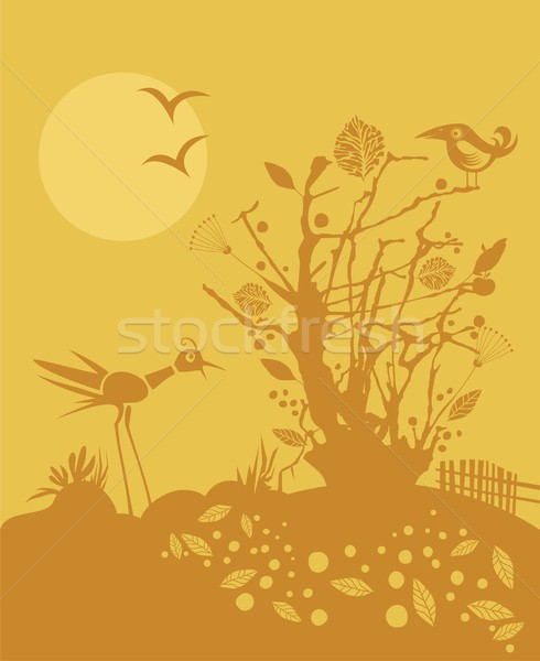 ősz jelenet madarak almafa naplemente fa Stock fotó © yurumi
