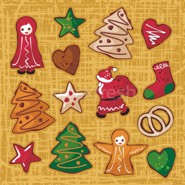 Christmas Gingerbread Cookies Set Stock photo © yurumi