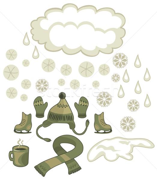 Invierno establecer tiempo estacional aire libre Foto stock © yurumi