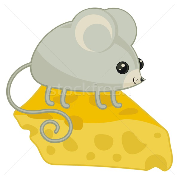 幸せ マウス 先頭 チーズ スライス ストックフォト © yurumi