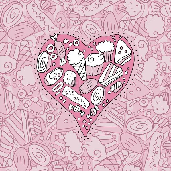 Gryzmolić serca cookie słodycze żywności ślub Zdjęcia stock © yurumi