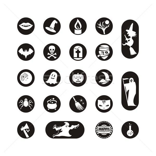 Halloween szett ikonok címkék különböző szimbólumok Stock fotó © yurumi