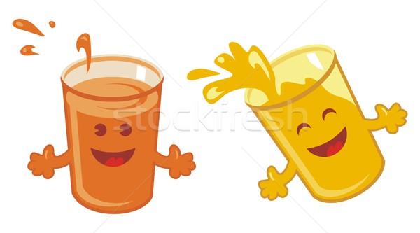 Narancslé rajz szett boldog szemüveg friss Stock fotó © yurumi