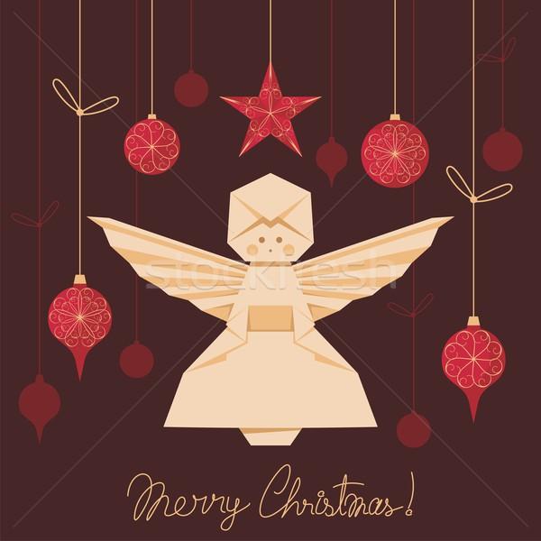 Origami angyal karácsony fa díszítések papír Stock fotó © yurumi