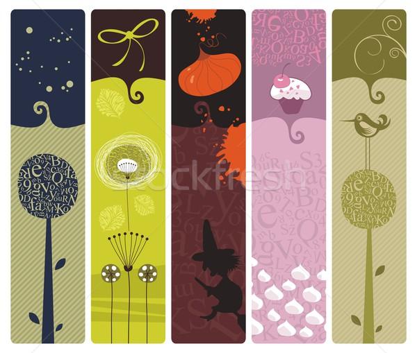 ブックマーク セット 背景 花 ストックフォト © yurumi
