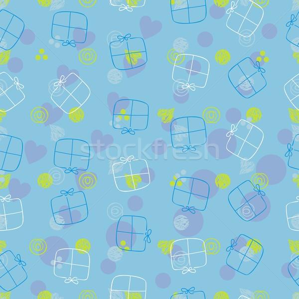 Seamless pattern with gift boxes Stock photo © yurumi