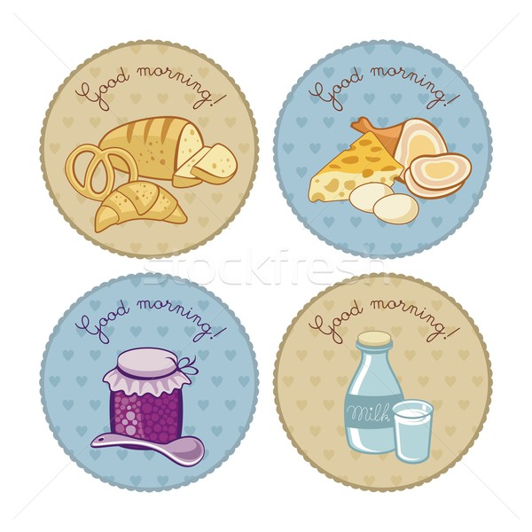 Reggeli szett klasszikus címkék étel boldog Stock fotó © yurumi
