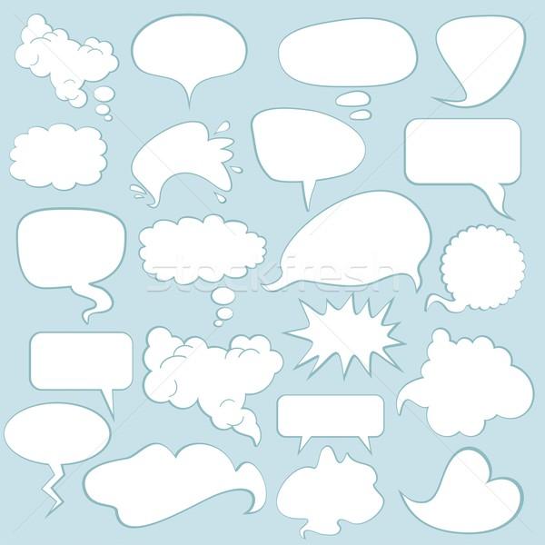 Beszéd léggömbök különböző képregény buborékok szett Stock fotó © yurumi