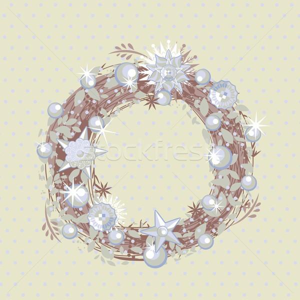 Karácsony koszorú dekoratív polka család textúra Stock fotó © yurumi