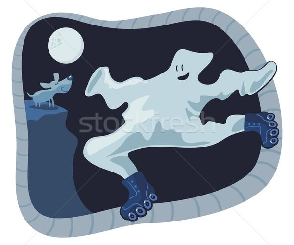 Szellem rajz korcsolyázás éjszaka halloween égbolt Stock fotó © yurumi
