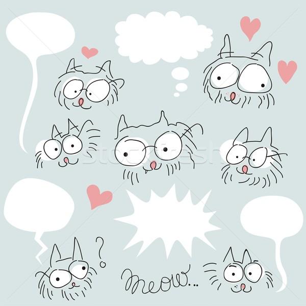 Doodled bespectacled cats set Stock photo © yurumi