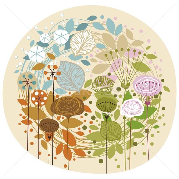 Négy évszak dekoratív illusztráció természet levél születésnap Stock fotó © yurumi