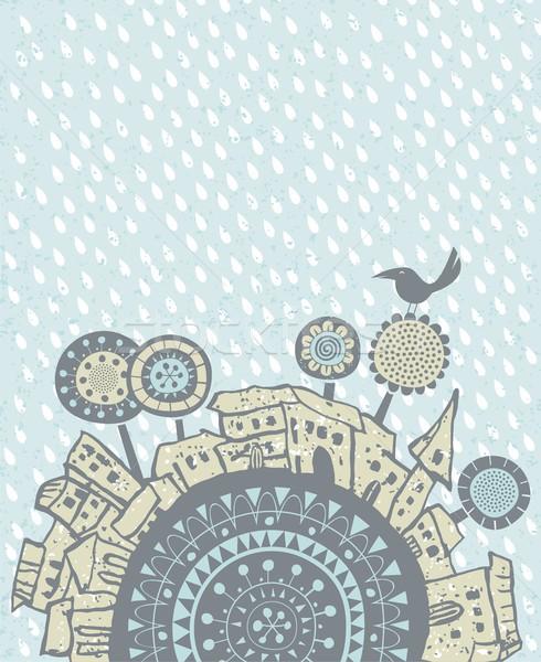 Rain falling over a city Stock photo © yurumi