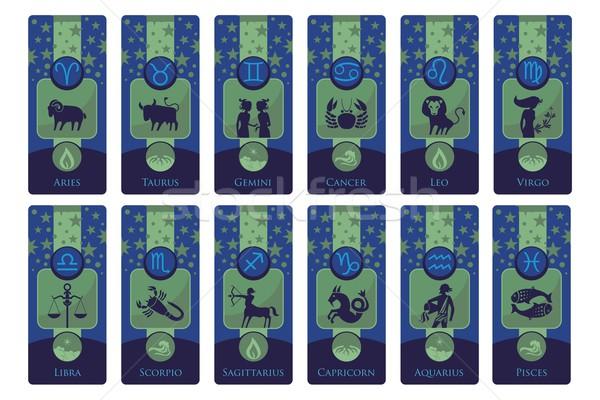 зодиак Баннеры набор европейский признаков Сток-фото © yurumi