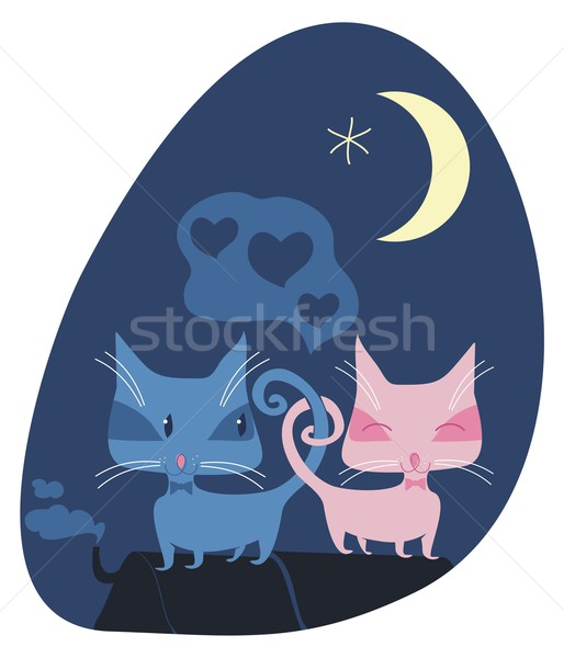 Romantic Cats Stock photo © yurumi