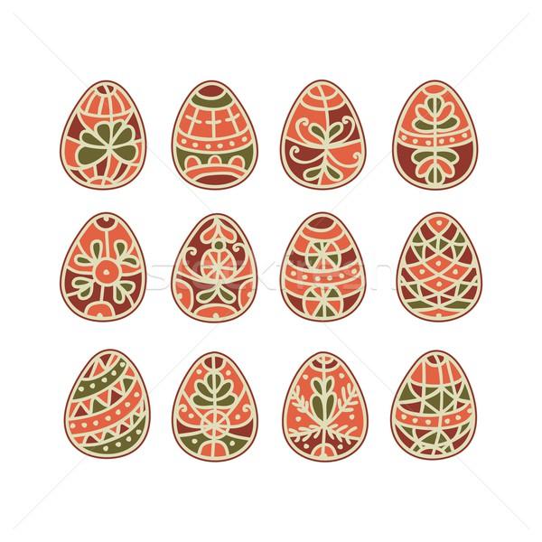 Easter Eggs dekoracyjny tradycyjny malowany kolekcja Wielkanoc Zdjęcia stock © yurumi