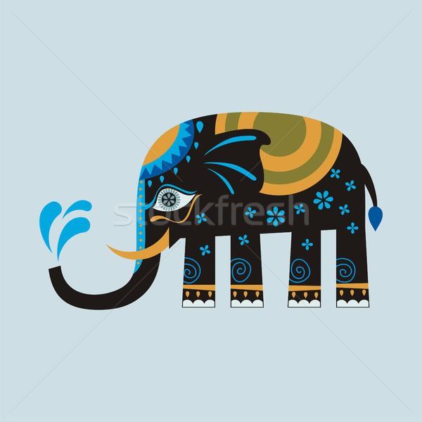 Black Decorated Elephant Stock photo © yurumi