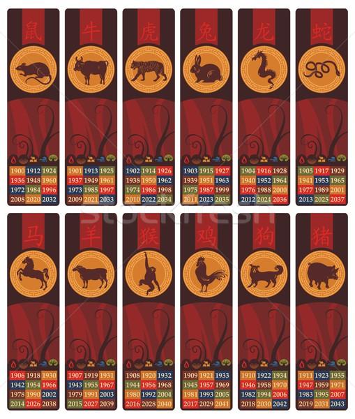 Chińczyk zodiak zakładki zestaw rok pięć Zdjęcia stock © yurumi