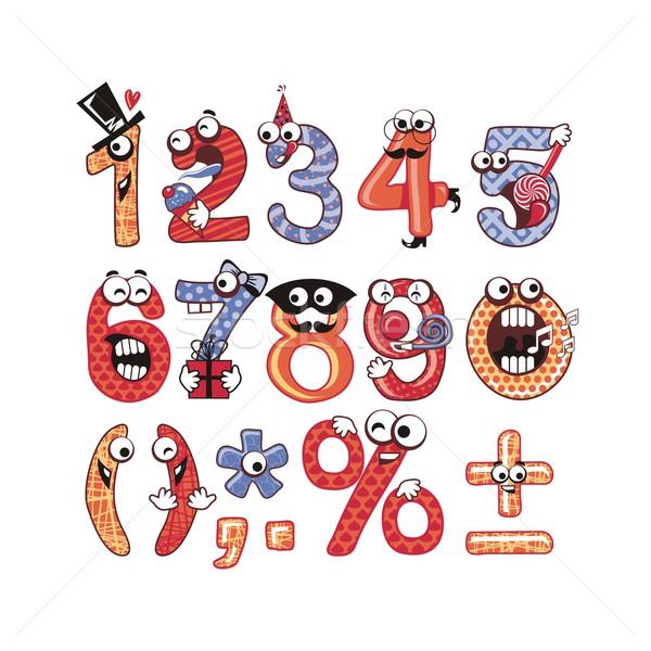 Buli számok szett vicces boldog gyerekek Stock fotó © yurumi