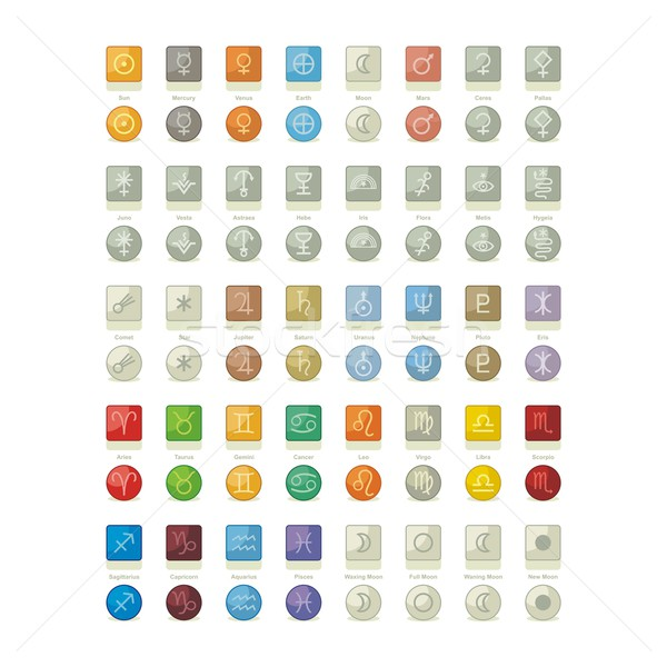 Naprendszer ikonok csomag szimbólumok tárgyak hold Stock fotó © yurumi